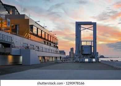 OSAKA, JAPAN - NOVEMBER 2, 2018: Osaka container ports, Marine Cargo at the harbour in Osaka, Japan