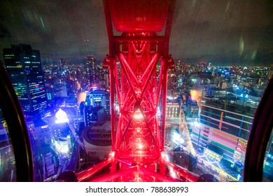 Osaka, Japan - November 20, 2017 :Osaka city landscape view from Hep Five Ferris Wheel in Osaka, Japan