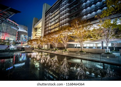 Osaka, Japan : November 2017 - Light up at Osaka Station in winter night with light illumination event in downtown Osaka