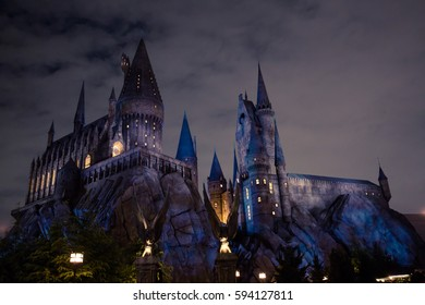 OSAKA, JAPAN - November 30, 2016 : The Hogwarts School of Witchcraft and Wizardry in Universal Studio Japan.