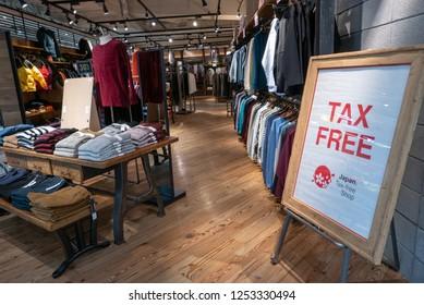 OSAKA, JAPAN - NOVEMBER 9, 2018: Tax Free sign at one of the clothing outlets at Yodobashi Camera Store, Umeda, Osaka, Japan