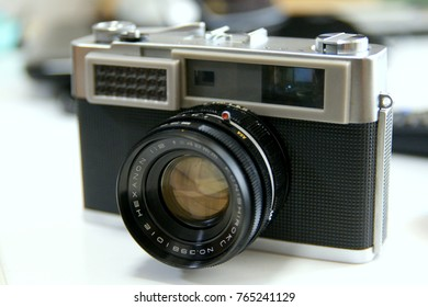 Osaka, Japan - Oct 01, 2017: Vintage film camera made in Japan at 1960s.