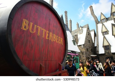 OSAKA, JAPAN - OCTOBER 13, 2016: Photo of Oak Barrel Containing BUTTERBEER, famous drink from Harry Potter containing 0% alcohol, at The Wizarding World of Harry Potter, Universal Studio JAPAN, Osaka.