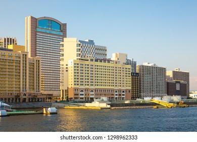 Osaka, Japan - October 18, 2018:  Hotel Universal Port Vita and Hotel Keihan Universal Tower in Osaka Japan.  View from Aji River.