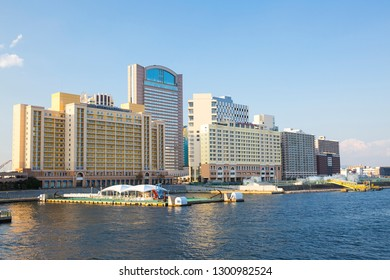 Osaka, Japan - October 18, 2018:  Hotel Universal Port Vita, Hotel Keihan Universal Tower and Hotel Universal port in Osaka Japan.  View from Aji River.