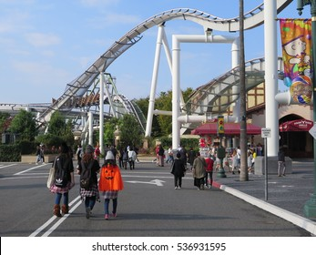Osaka, Japan - October 2016: Roller coaster at Universal Studios Japan