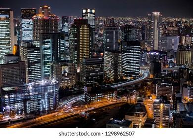 Osaka, japan, October 21, 2018: - High angle view of Osaka city at night.  View from Umeda Sky Building.