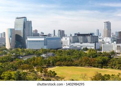 Osaka, Japan - October 21, 2018: Cityscape of Osaka city in Japan, view from osaka castle.