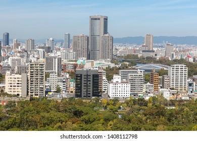 Osaka, Japan - October 21, 2018: High angle view of cityscape at Osaka Japan.