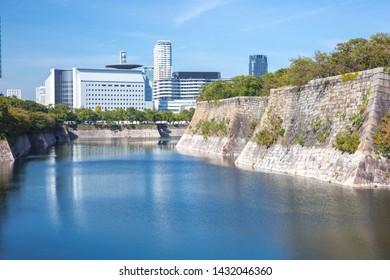 Osaka, Japan - October 21, 2018: Beautiful Cityscape of osaka castle park. Osaka Castle Park is a public urban park and historical site situated at Osaka-Jō in Chūō-ku, Osaka, Japan.