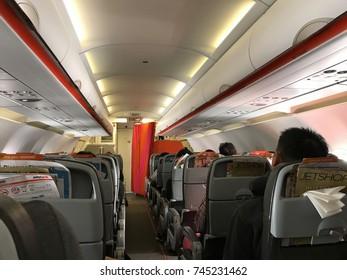 OSAKA, JAPAN - OCTOBER 21: Interior of a Jetstar Airbus A320 airplane on October 21, 2017 in Osaka.