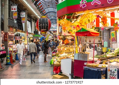 Osaka, Japan - October 22, 2018: The Kuromon Ichiba is a spacious market with vendors selling street food, fresh produce and shellfish, plus souvenirs.