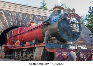 OSAKA, JAPAN - OCTOBER 26, 2015: The Hogwarts Express, The Wizarding World of Harry Potter in Universal Studios Japan, Located in Osaka, is one of four Universal Studios theme parks.