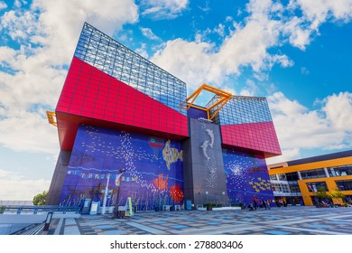 OSAKA, JAPAN - OCTOBER 28: Aquarium Kaiyukan in Osaka, Japan on October 28, 2014. Located in the ward of Minato in Osaka, Japan, near Osaka Bay. It is one of the largest public aquariums in the world