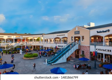 Osaka, Japan - October 29 2018: Rinku Premium Outlets located across from Kansai International Airport, it's largest outlet shopping center in western Japan