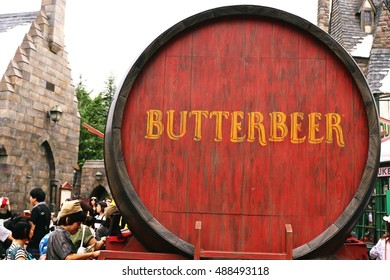 OSAKA, JAPAN - SEP 24, 2016 : Photo of Oak Barrel Containing BUTTERBEER, famous drink from Harry Potter containing 0% alcohol, at The Wizarding World of Harry Potter, Universal Studio JAPAN, Osaka.