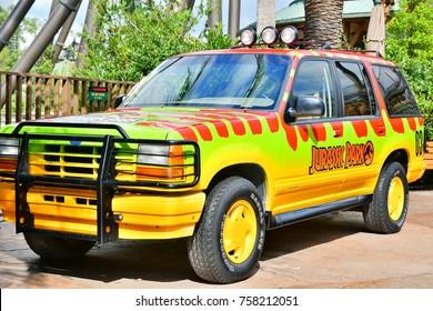 OSAKA, JAPAN - September 18, 2017. 1993 Ford Explorer at Jurassic park the ride entrance in Universal Studios Japan. Universal Studios Japan is a fun and famous theme park in Osaka, Japan.