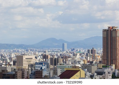 OSAKA, JAPAN - SEPTEMBER 18 : aerial view Osaka commercial and business cityscape at afternoon from top level of Osaka castle on September 18, 2017 in Osaka, Japan.