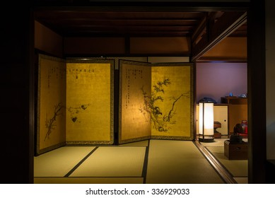 OSAKA, JAPAN - SEPTEMBER 22, 2015: Life-sized reproduction of the Edo-period house in Osaka Museum of Housing and Living.