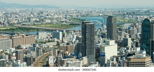 OSAKA, JAPAN - SEPTEMBER 22, 2015: Osaka city view from Umeda sky building, Osaka.