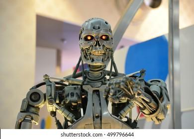 OSAKA, JAPAN - SEPTEMBER 26 2016: Human Size T-800 Endoskeleton Model from the Terminator 3D in Universal Studios japan