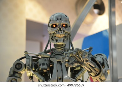 OSAKA, JAPAN - SEPTEMBER 26 2016: Human Size T-800 Endoskeleton Model from the Terminator 3D in Universal Studios japan