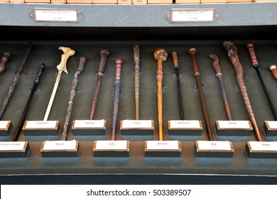 OSAKA, JAPAN - SEPTEMBER 26 2016: Variety Magic Wand from Harry Potter is one of the popular souvenir for visitor at Universal Studios Japan (USJ).