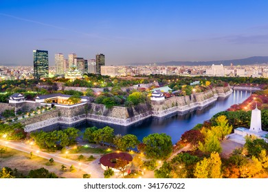 Osaka, Japan skyline at Osaka Castle Park.