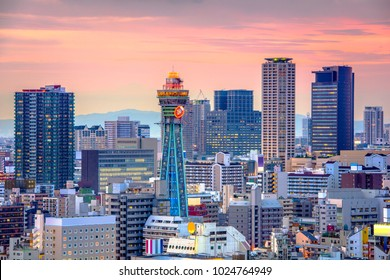 Osaka, Japan skyline over Shinsekai at twilight.