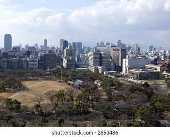Osaka, Japan - view from top of Osaka Castle.