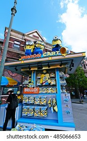 """OSAKA, JAPAN-AUG 18, 2016: Photo of """"HAPPY MINION MART"""" shop, selling Minion Goods, located in Universal Studios JAPAN in Osaka, Japan. Minions are famous character from Despicable Me animation."""