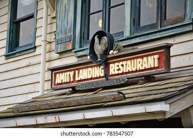 OSAKA, JP - APR. 7: Amity Village theme Amity Landing Restaurant sign on April 7, 2017 in Universal Studios, Osaka, Japan. Universal Studios Japan is a theme park located in Konohana-ku, Osaka, Japan.
