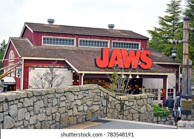 OSAKA, JP - APR. 7: Amity Village theme Jaws ride facade and signage on April 7, 2017 in Universal Studios, Osaka, Japan. Universal Studios Japan is a theme park located in Konohana-ku, Osaka, Japan.