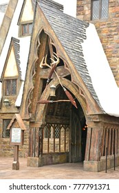 OSAKA, JP - APR. 7: Harry Potter theme Three Broomsticks tavern on April 7, 2017 in Universal Studios Japan, Osaka, Japan. Universal Studios Japan is a theme park located in Konohana-ku, Osaka, Japan.