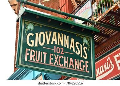 OSAKA, JP - APR. 7: New York theme Giovannasi's fruit exchange sign on April 7, 2017 in Universal Studios, Osaka, Japan. Universal Studios Japan is a theme park located in Konohana-ku, Osaka, Japan.