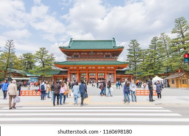 OSAKA, JP - APR. 7: Shitennoji temple entrance gate on April 7, 2018 in Osaka, Japan. Shitennoji is one of the oldest Buddhist temple in Osaka, Japan. There are many of tourist come and visit there.