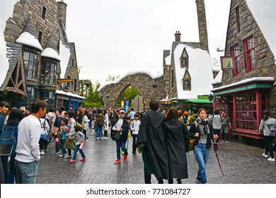 OSAKA, JP - APR. 7:  Wizarding World of Harry Potter theme on April 7, 2017 in Universal Studios japan, Osaka, Japan. Universal Studios Japan is a theme park located in  Konohana-ku, Osaka, Japan.
