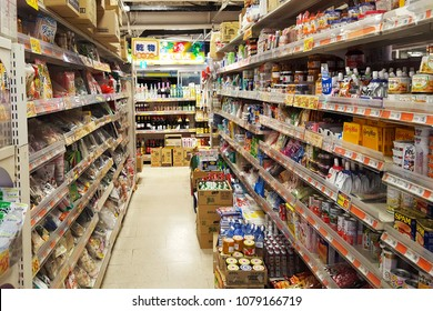 Osaka, JP - JUNE 4, 2017: Various instant foods, seasoning sauces and goods that discount sale on the shelf in a supermarket.