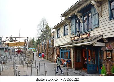 OSAKA, JP-APR. 7: Amity Village theme Amity Landing Restaurant facade on April 7, 2017 in Universal Studios, Osaka, Japan. Universal Studios Japan is a theme park located in Konohana-ku, Osaka, Japan.