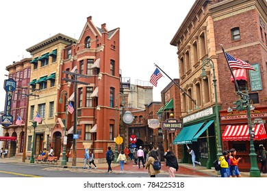 OSAKA, JP-APR. 7: New York theme various neighboring building facade on April 7, 2017 in Universal Studios, Osaka, Japan. Universal Studios Japan is a theme park located in Konohana-ku, Osaka, Japan.
