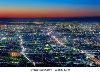 Osaka and Kobe at dusk, View from an Observatory of Shigi-Ikoma Skyline