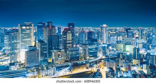Osaka Night View from Umeda Sky Building in Kita Ward, Osaka, Japan.