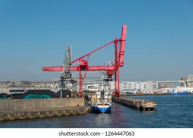 OSAKA PORT, OSAKA, JAPAN-NOVEMBER 8, 2018 : Bunkering process of a tanker at Osaka port, Osaka, Japan.