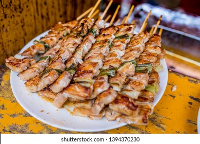Osaka Street Food - Yakitori Chicken Stewers on a plate. Yakitori is one of Japanese famous snacks / dish that you can eat it on its own.