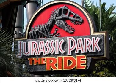 Osaka,Japan - Apr 13,2019: Jurassic Park THE RIDE sign in Jurassic Park Section Universal Studios Japan.