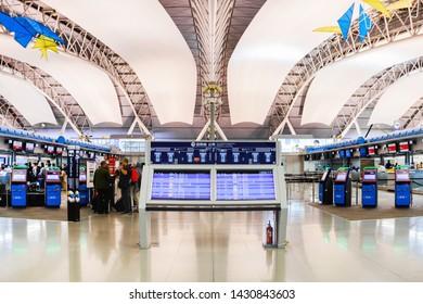 OSAKA,JAPAN - JUN 18: Passengers inside Kansai airport on June 18, 2019. Located on an artificial island in Osaka Bay. Kansai International Airport (KIX) is one of Japan's most important airports.