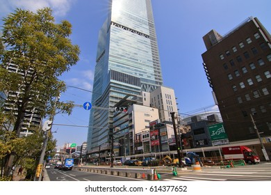 Osaka,Japan - March 28, 2017: Around JR Tennouji station It is the terminal station to go to Kansai airpot or Nara prefecture, etc. There are many shopping facilities, department stores in this area.