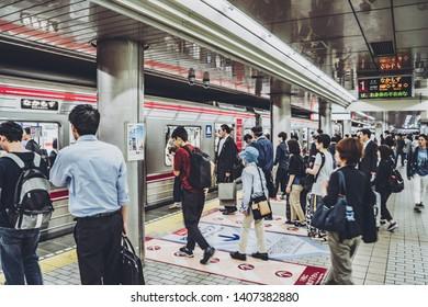 Osaka,Japan - May 6, 2017: Osaka Metro is the rapid transit network in the Osaka Metropolitan Area of Japan, operated by Osaka Metro Co Ltd.