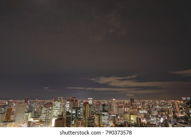 Osaka,Japan - November 28, 2017: Nightscape of Osaka from Umeda Sky Building observatory. It is located to the north of Osaka station. It has a ovservatory, and the height is about 173m.