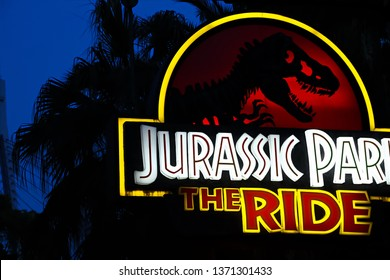 Osaka,Japan-Apr 13,2019: Jurassic Park THE RIDE sign in Jurassic Park Section Universal Studios Japan.